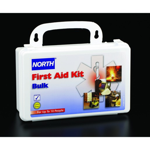 """North® By Honeywell 5"""" X 8"""" X 2 3/4"""" White Plastic Portable And Wall Mount 10 Person Bulk First Aid Kit"""