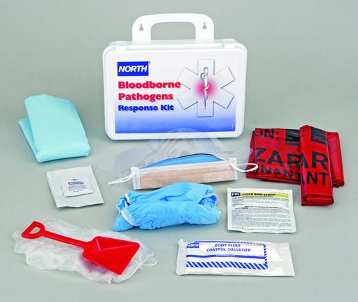 "North® By Honeywell 7"" X 10 1/4"" X 3"" White Plastic 16 Unit Bloodborne Pathogen Response Kit"