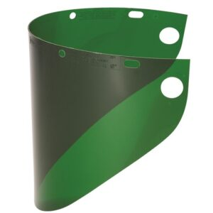 "Fibre-Metal® by Honeywell High Performance® Model 4178 8"" X 16 1/2"" X .06"" Dark Green Injection Molded Propionate Wide View Faceshield For Use With Models F400 And F500 Mounting Crown"