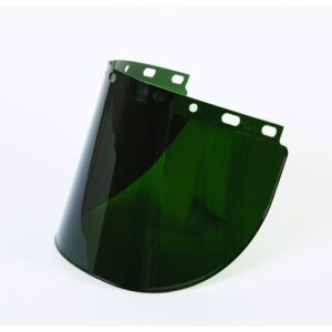 "Fibre-Metal® by Honeywell High Performance® Model 4178 8"" X 16 1/2"" X .06"" Green Shade 5 Injection Molded Propionate Wide View Faceshield For Use With Models F400 And F500 Mounting Crown"