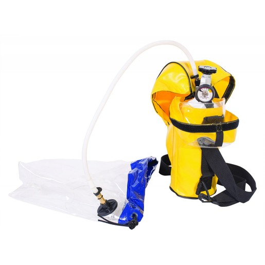 North® by Honeywell 2216 psi ER5000 Escape Breathing Apparatus With 5 Minute 3AL Cylinder, Carry Pouch, Refillable Cylinder, Valve And Pressure Gauge Assembly, Breathing Tube, Protective Air Hood, And Regulator