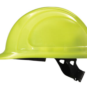 North® By Honeywell Hi-Viz Yellow North Zone™ HDPE Cap Style Hard Hat With Quick-Fit 4 Point Pinlock Suspension, Accessory Slots And Removable Brow Pad