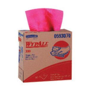 """Kimberly-Clark Professional* WYPALL* X80 9.100"""" X 16.800"""" Red HYDROKNIT* Wiper (80 Per Pop-Up® Box, 5 Box Per Case)"""