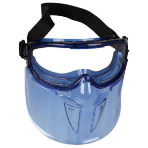 Kimberly-Clark Professional* Jackson Safety* V90 Shield Monogoggle* XTR Indirect Vent Splash Goggles With Blue Frame, Clear Anti-Fog Lens And Polycarbonate Face Shield