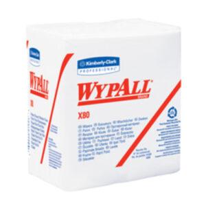 "Kimberly-Clark Professional* WYPALL* X80 12.5"" X 12"" White Heavy Duty 1/4 Fold Wiper (50 Per Box)"