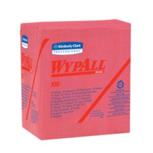 "Kimberly-Clark Professional* WYPALL* X80 12.5"" X 12"" Red Heavy Duty 1/4 Fold Wiper (50 Per Box)"