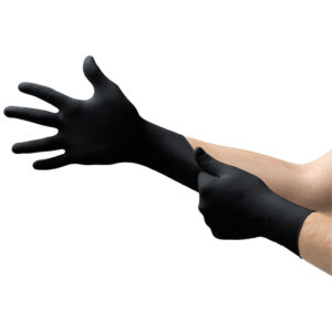 """Microflex® Medium Black 9.645"""" MidKnight™ 4.7 mil Nitrile Ambidextrous Non-Sterile Medical Grade Powder-Free Disposable Gloves With Fully Textured Finish And Standard Examination Beaded Cuff (100 Each Per Box)"""