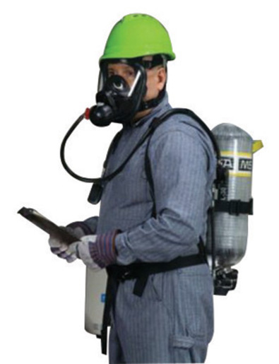 MSA AirHawk® II 2216 psig Industrial Low Pressure Supplied Air Respirator System With Medium Hycar™ Rubber Advantage® 4000 Facepiece, Net Head Harness, Nylon Harness With Chest Strap And 30 Minute L30 Carbon Wrapped Cylinder (Without Case)