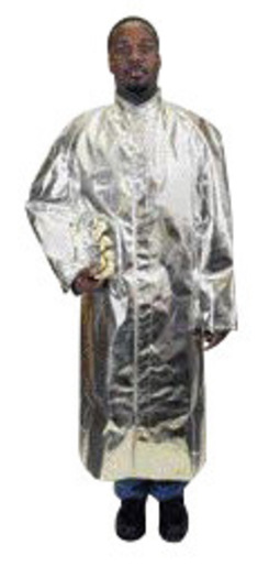 "National Safety Apparel® 3X 50"" Silver Aluminized Acrysil Heat Resistant Coat With Snap Front Closure"