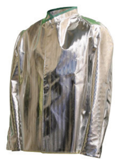 "National Safety Apparel® Large 30"" Silver Aluminized Acrysil Heat Resistant Coat With Snap Front Closure"