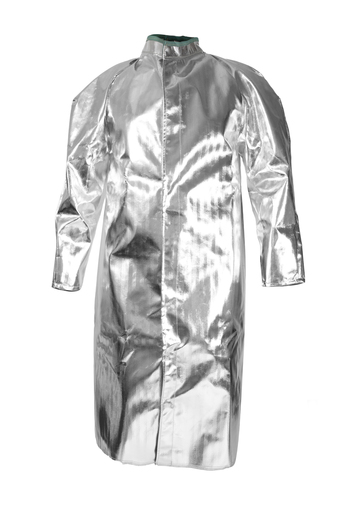 "National Safety Apparel® Large 50"" Silver Aluminized Acrysil Heat Resistant Coat With Snap Front Closure"