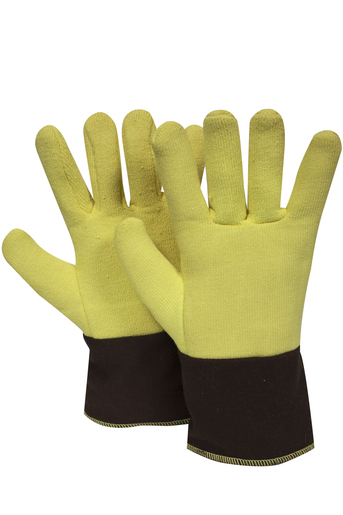 "National Safety Apparel Regular 12"" Yellow And Brown 20 Ounce DuPont™ Kevlar® Heat Resistant Gloves With Duck Cuff, Wool And Cotton Lining And Wing Thumb"