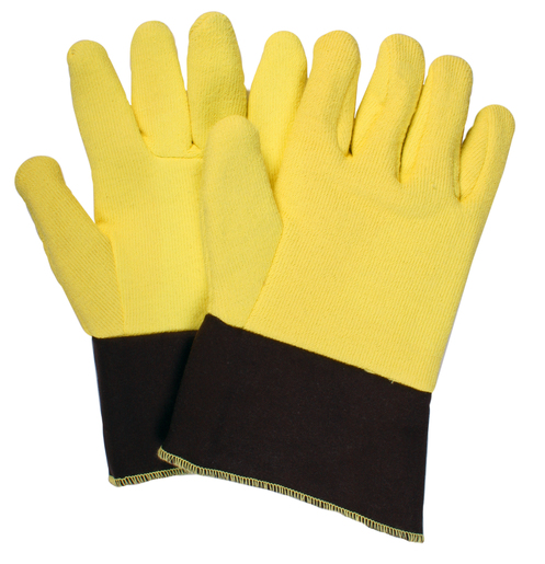"National Safety Apparel Jumbo 12"" Yellow And Brown 20 Ounce DuPont™ Kevlar® Heat Resistant Gloves With Duck Cuff, Wool And Cotton Lining And Wing Thumb"