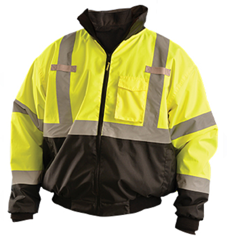 "OccuNomix 2X Black/Hi-Viz Yellow Classic™ Three-Way Black Bottom Bomber PU Coating Waterproof Polyester Class 3 Jacket With Zipper Closure, 2"" Silver Reflective Tape And Eight Pockets"