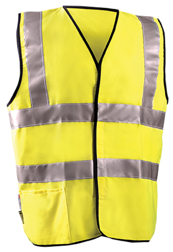 "OccuNomix 2X Hi-Viz Yellow Classic™ Flame Resistant Solid Cotton Class 2 Dual Stripe Vest With Hook And Loop Closure And 3M™ Scotchlite™ 2"" Reflective Tape And 1 Pocket"