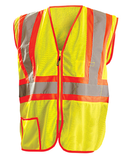"OccuNomix 2X Hi-Viz Yellow Classic™ Light Weight Polyester Mesh Class 2 Two-Tone Vest With Front Zipper Closure And 2"" Silver Reflective Tape Backed by Contrasting Trim And 2 Pockets"
