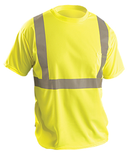 "OccuNomix 2X Hi-Viz Yellow Classic™ Birdseye Light Weight Wicking Polyester Class 2 Standard Short Sleeve T-Shirt With 2"" Silver Reflective Tape And 1 Pocket"