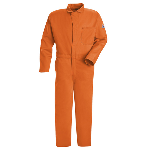 "Bulwark® 50"" Orange Cotton Flame Resistant Coverall With Zipper Closure"