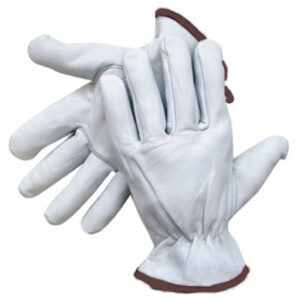 Radnor® Large Grain Goatskin Unlined Drivers Gloves With Straight Thumb, Slip-On Cuff, Brown Hem And Shirred Elastic Back