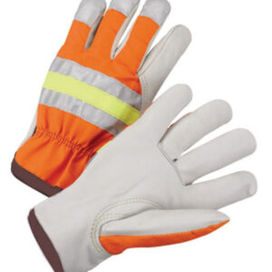 Radnor® Large Gray And Hi-Viz Orange Grain Cowhide Unlined Drivers Gloves With Keystone Thumb, Slip-On Cuff And Brown Hem