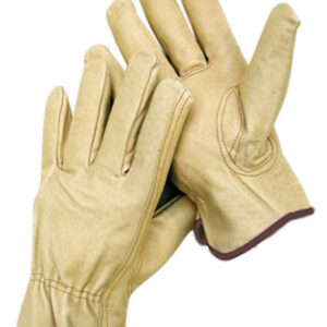 Radnor® Large Grain Pigskin Unlined Drivers Gloves With Keystone Thumb, Slip-On Cuff, Brown Hem And Shirred Elastic Back