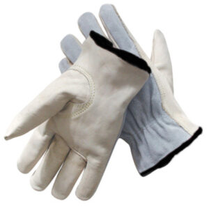 Radnor® 2X Grain Palm Split Cowhide Back  Leather Unlined Drivers Gloves With Keystone Thumb, Slip-On Cuff, Black Hem And Shirred Elastic Back