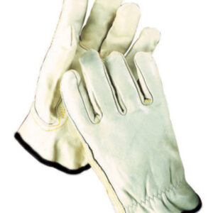 Radnor® 2X Grain Leather Unlined Drivers Gloves With Keystone Thumb, Slip-On Cuff, Black Hem And Shirred Elastic Back