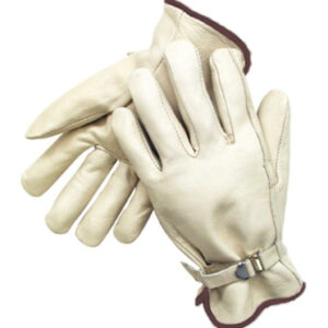 Radnor® Large Grain Cowhide Unlined Drivers Gloves With Straight Thumb, Wrist Strap Cuff And Brown Hem